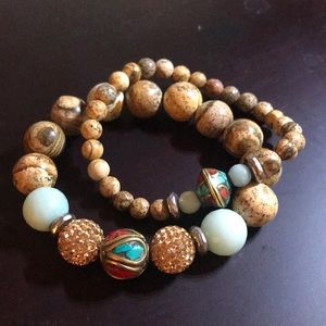 Devoted Bracelet Set of Turquoise and Chalcecony